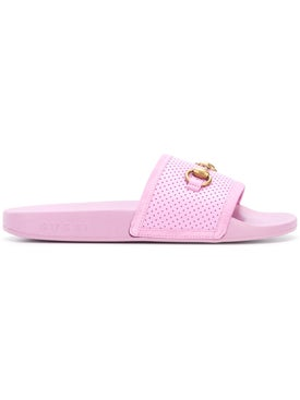 Gucci - Horsebit Perforated Sliders Light Pink - Flats