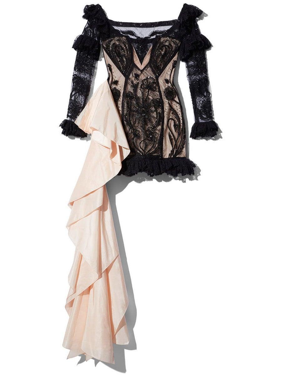Dundas Black Lace Off-Shoulder Mini Dress