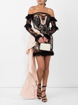 Dundas - Black Lace Off-shoulder Mini Dress - Women