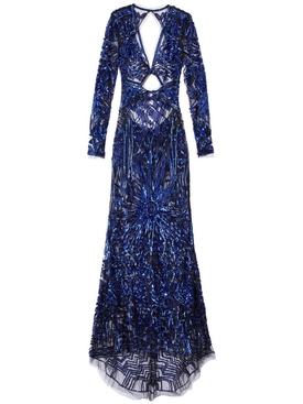 Dundas - Cobalt Bugle Bead Art Deco Embellished Dress - Women