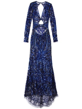 Dundas - Cobalt Bugle Bead Art Deco Embellished Dress - Evening