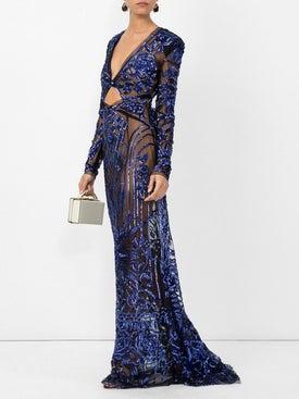 Dundas - Cobalt Bugle Bead Art Deco Embellished Dress - Women