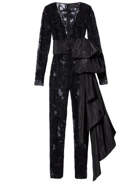 Dundas - Black Embellished Lace Jumpsuit - Women