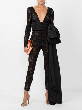 Black Embellished Lace Jumpsuit
