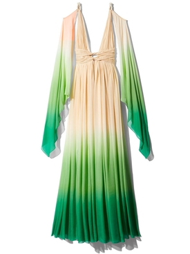Champagne & Green Dip Dyed Drape Dress
