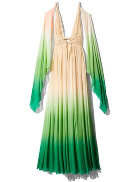 Dundas - Champagne & Green Dip Dyed Drape Dress - Women