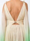 Dundas - Champagne & Green Dip Dyed Drape Dress - Women