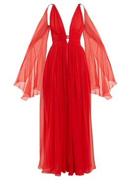 Dundas - Deep V-neck Sleeveless Silk-chiffon Gown - Women