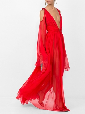 Deep V-neck sleeveless silk-chiffon gown