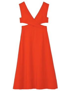 Crepe Cutout Dress ORANGE