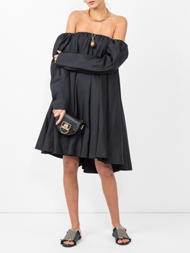 bardot ruffled dress BLACK