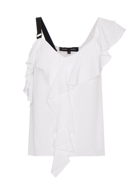 Ruffle One-shoulder Top WHITE