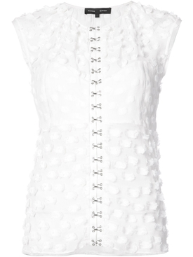 sleeveless hook and eye top WHITE