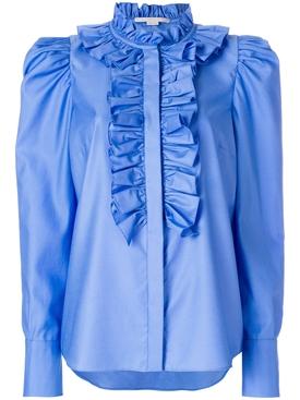 ruffled neck shirt BLUE