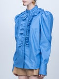 Stella Mccartney - Ruffled Neck Shirt Blue - Women