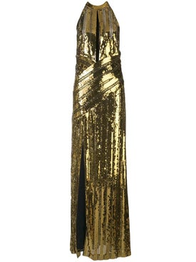 Galvan - Gold Halterneck Evening Dress - Women