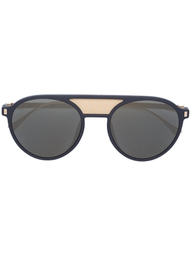 Damson double bridge round sunglasses