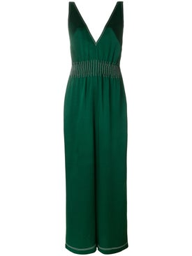 Valentino - Contrast Stitched Jumpsuit Dark Green - Women
