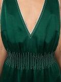 Valentino - Contrast Stitched Jumpsuit Dark Green - Women