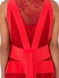 Valentino - Lace And Pleated Silk Midi Dress - Mid-length