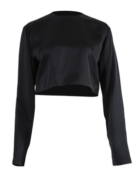 Magda Butrym - Larisa Cropped Blouse Black - Women