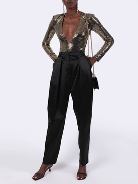 Black Satin High-Waisted Harwich Pants