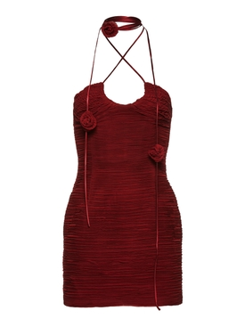 ruched bodycon mini dress bordeaux