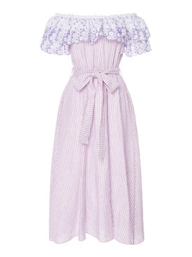 Gul Hurgel - Off The Shoulder Belted Dress Purple - Women
