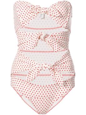 Tripple poppy swimsuit WHITE