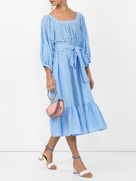 Laure midi eyelet dress BLUE