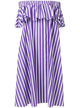 Maison Rabih Kayrouz - Purple Striped Off-shoulder Dress Purple - Women