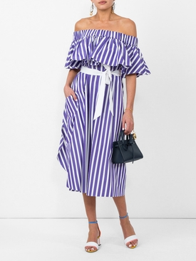 purple striped off-shoulder dress PURPLE