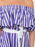 Maison Rabih Kayrouz - Purple Striped Off-shoulder Dress Purple - Women