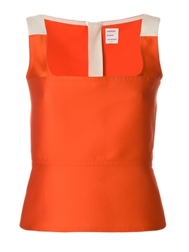 orange fitted woven top ORANGE