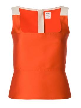 orange fitted woven top ORANGE