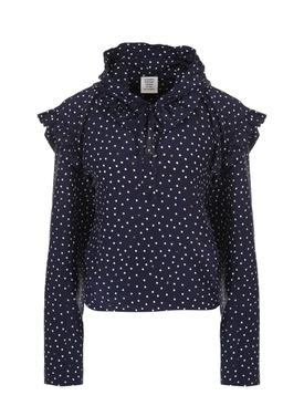 polka dot biker blouse BLUE