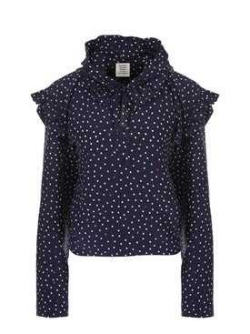 Vetements - Polka Dot Biker Blouse Blue - Women