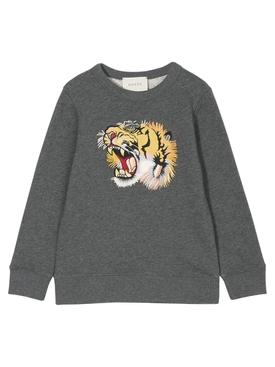 tiger-appliqu sweatshirt GREY