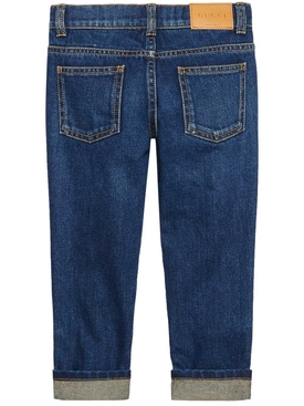 denim pant with heart BLUE
