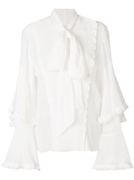 asymmetric bow blouse, white WHITE