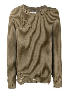 Brown Distressed Crew-neck Sweater