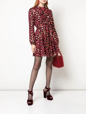 Red and gold polka dot dress