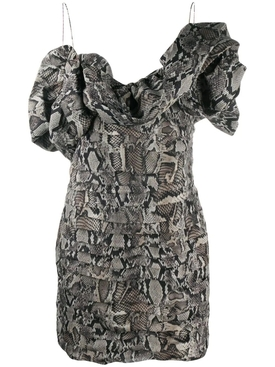 Ruffled snake print dress