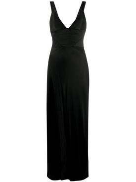 Galvan - Black V-neck Evening Dress - Women
