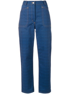 J.w. Anderson - Grid Printed Denim Trouser - Women