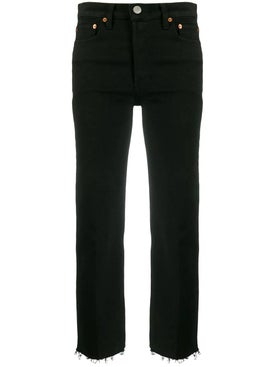 Re/done - High Rise Stove Pipe Jeans Black - Women