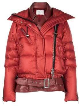 Sacai - Double Layered Leather Puffer Jacket - Women