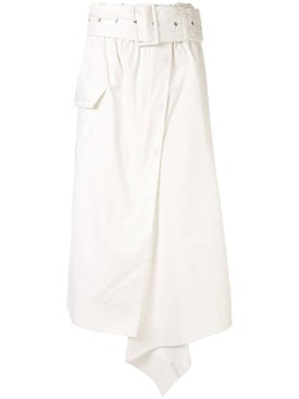 Sacai - White Asymmetric Midi Skirt - Women