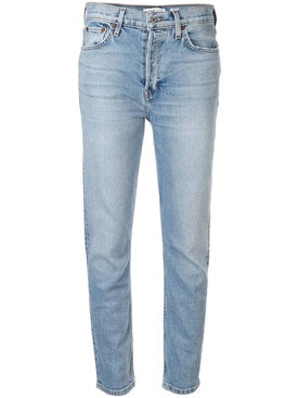 Re/done - Light Blue Cotton High-rise Skinny Jeans - Denim