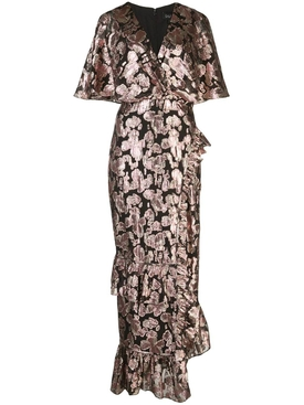 Metallic rose brocade dress